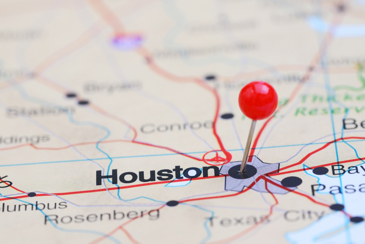 Houston pinned on a map of USA